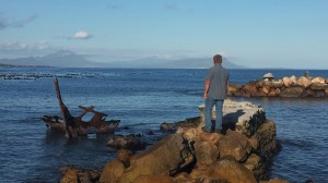 Deon on Harbour Wall at Bettys Bay
