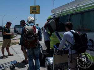 Loading our suitcases into the bus at Hurghada Airport