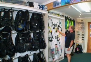 Well-stocked dive shop